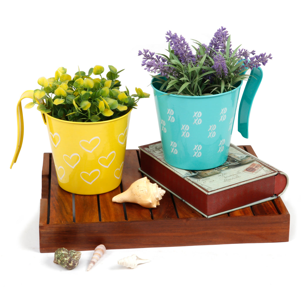 Elan Heart & XO Planter Collection, Pots for Balcony (Set of 2)