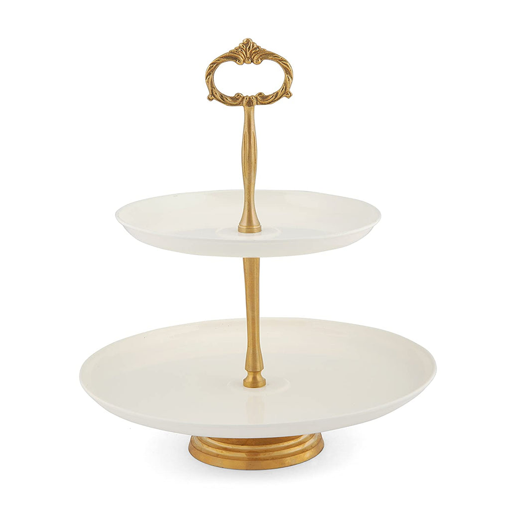 Elan Two Tier Cake Stand (Brass Accesories, Off White)