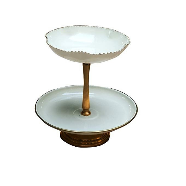 The Kesar Mini Two Tier Cake Stand (Off White)