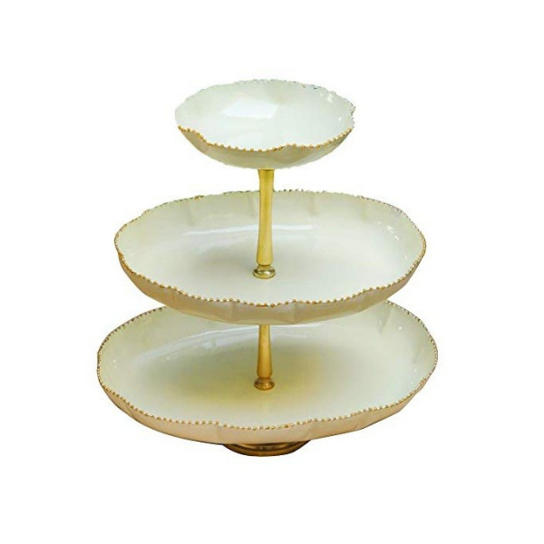 The Kesar Oval Three Tier Cake Stand (Off White)