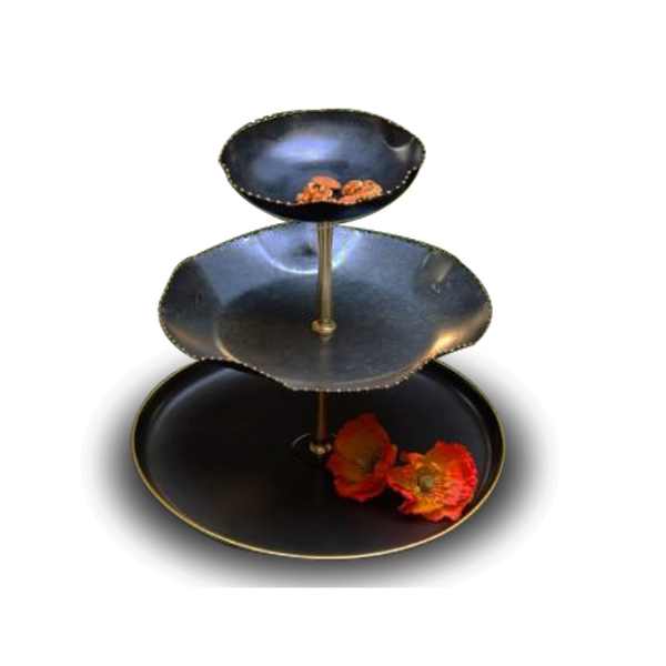 The Kesar Three Tier Cake Stand (Antique Black)