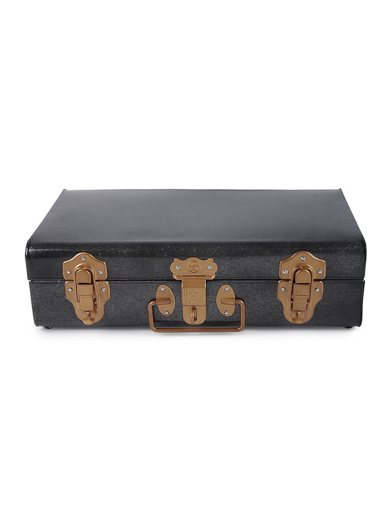 Elan Long Storage Trunk, Jewelry & Makeup Storage Chest (Antique Black)