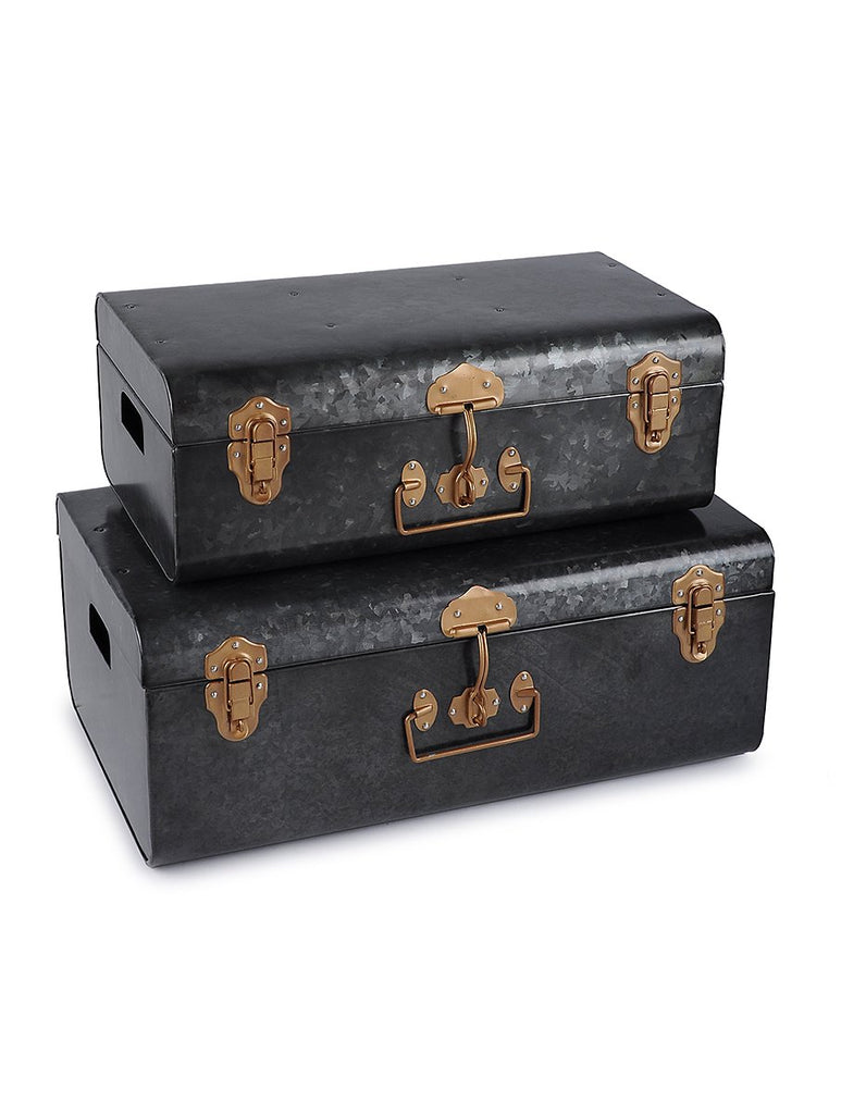 Elan Vintage Style Buxa Metal Trunk Set Of 2, Storage Chest (Antique Black)