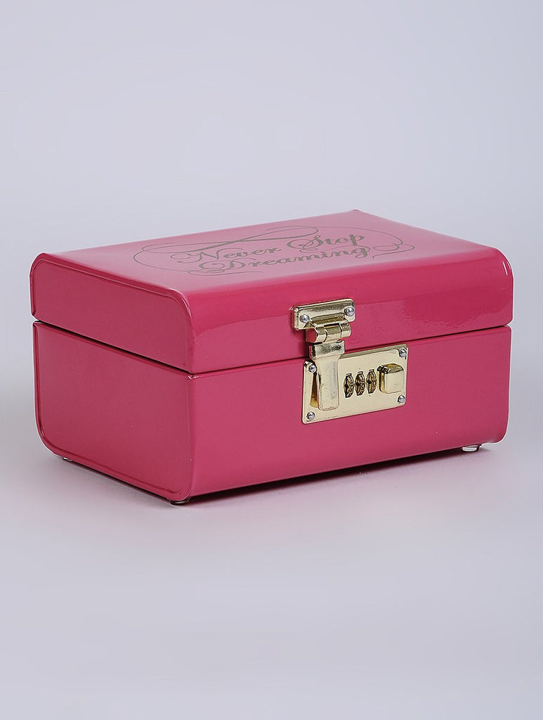 Elan Dreaming Storage Trunk, Jewelry & Makeup Storage Chest w/Lock (Hot Pink)