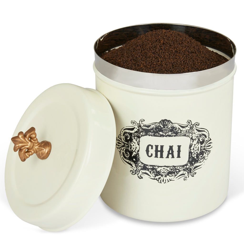 ELAN Bergen CHAI Tea CANISTER, Stainless Steel, 0.5Litres, Off White