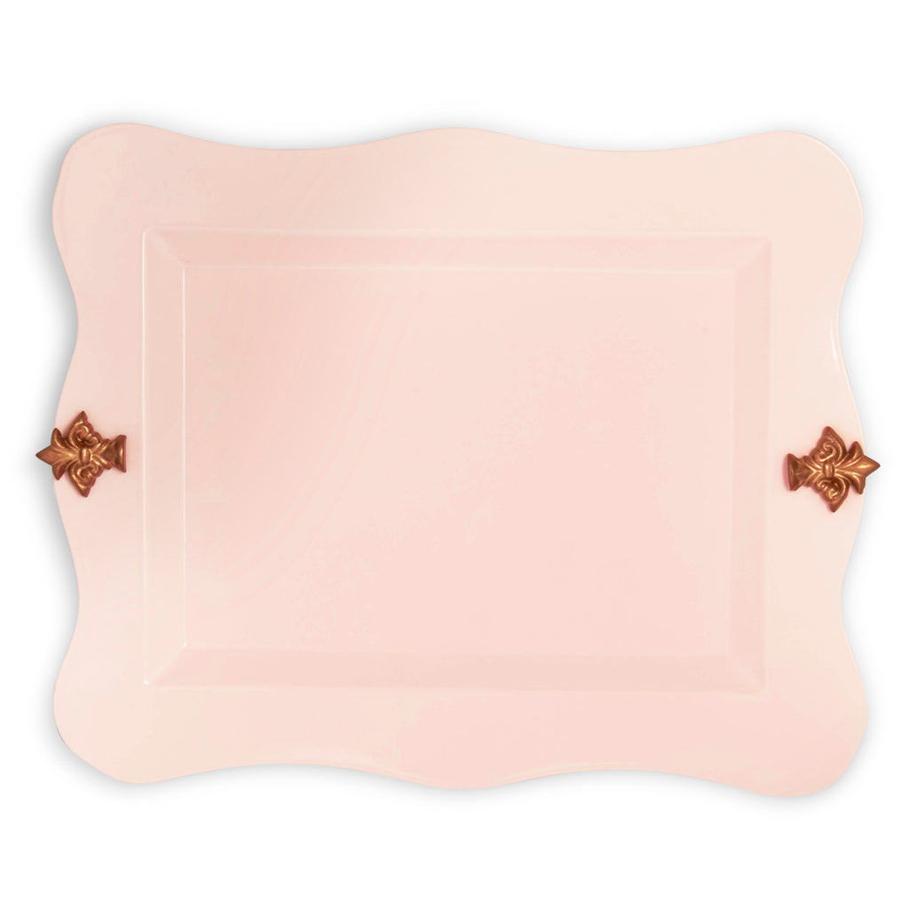 Elan Platter with Fleur, Small Tray (Powder Pink)