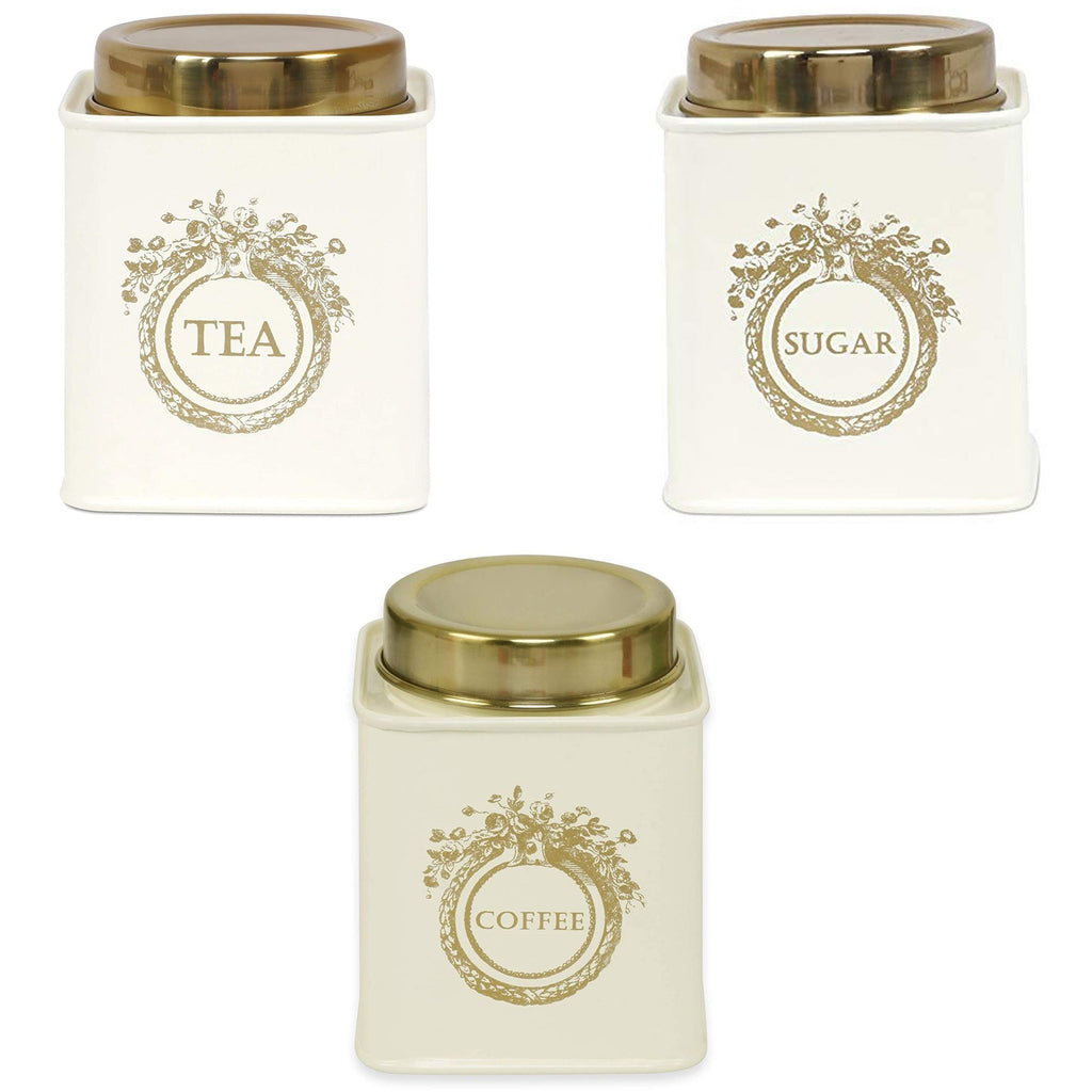 Elan Dreamer Tea, Sugar and Coffee Canister (Set of 3, Off White, 500 ML)