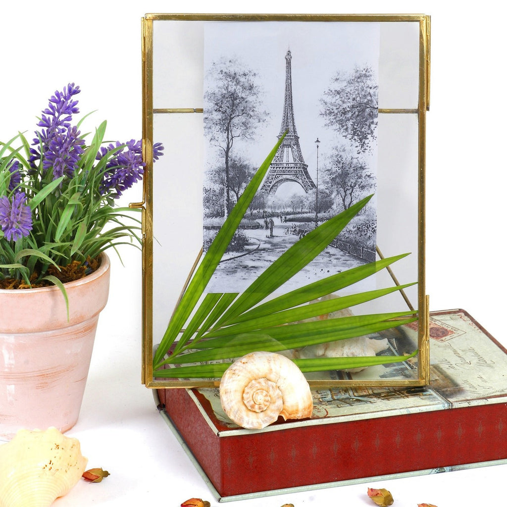 Elan 6X8IN Pressed Glass Photo Frame, Hanging and Table Top