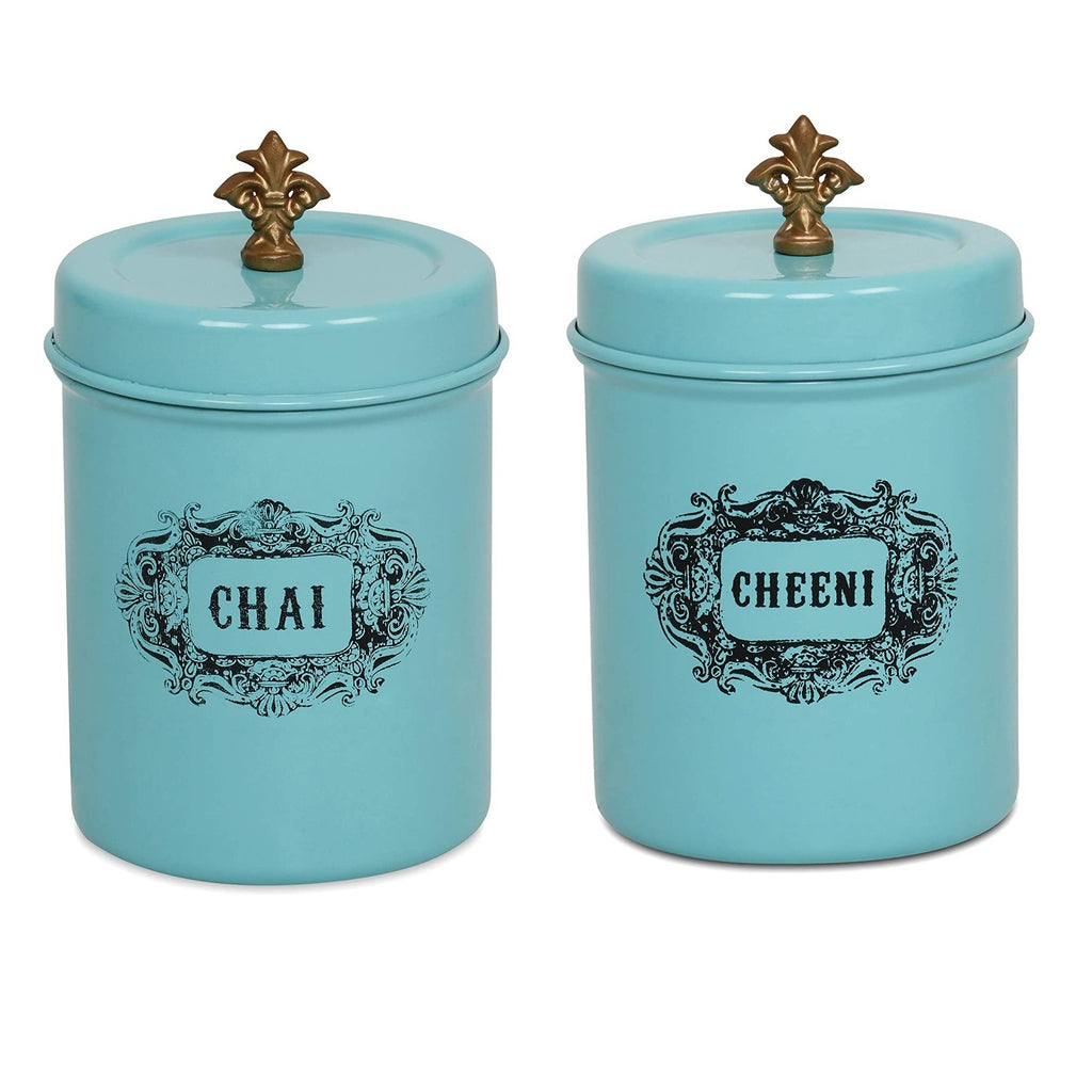 Elan Stainless Steel Round Chai and Cheeni Canister (Set of 2, Aqua, 500 ml)
