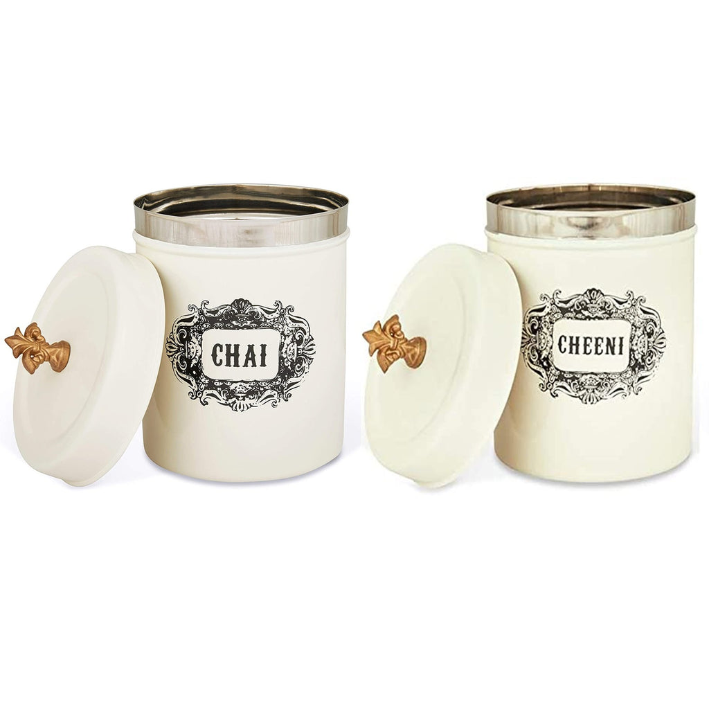 Elan Stainless Steel Round Chai and Cheeni Canister (Set of 2, Off White, 500 ml)