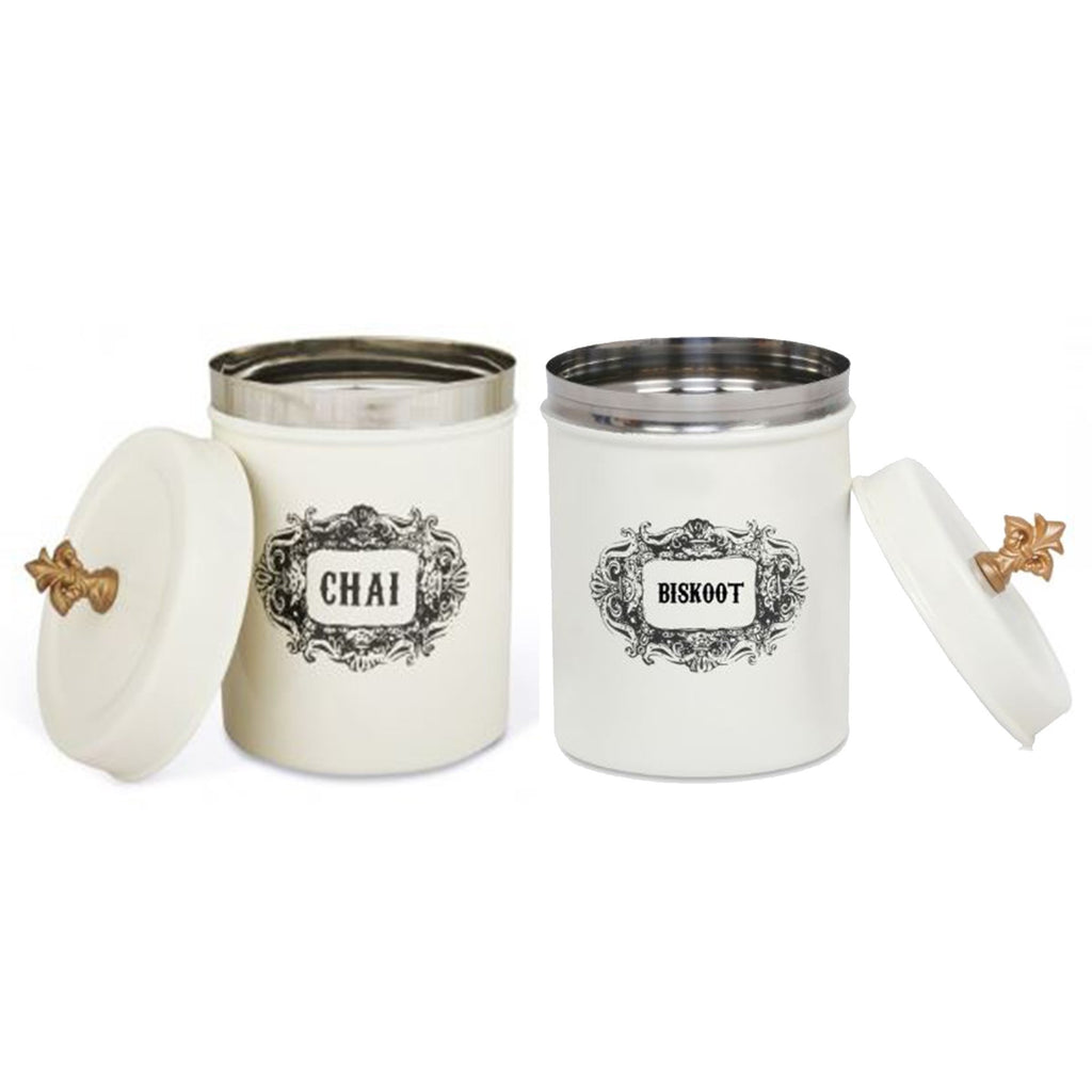ELAN Stainless Steel Round CHAI BISKOOT Canisters (Set of 2, Off White, 500 ml)