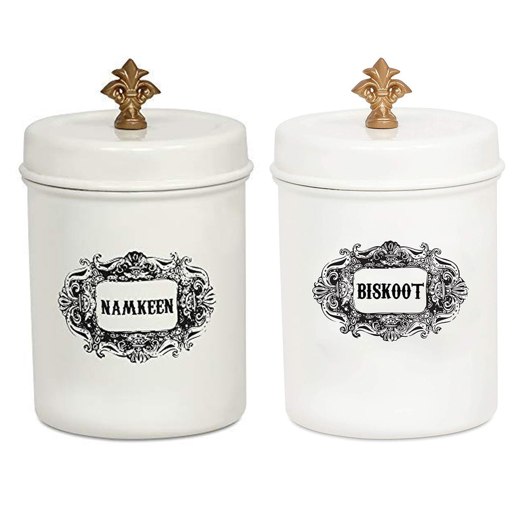 ELAN Stainless Steel Round NAMKEEN BISKOOT Canisters(Set of 2, Off White, 500 ml)