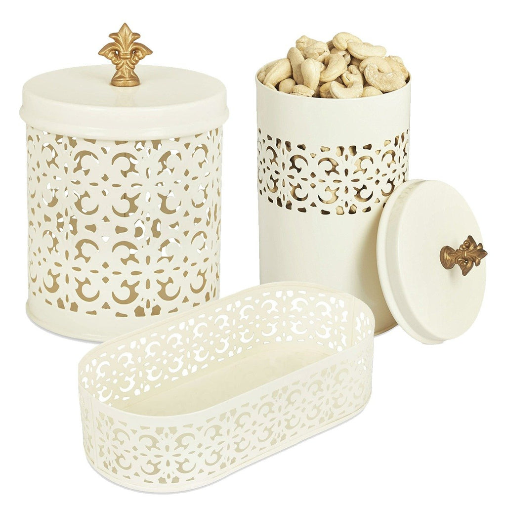 Elan Flecked Canisters with Tray (Set of 3, Off White)