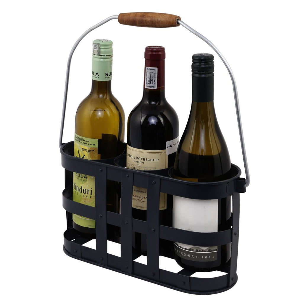 ELAN Racy Three Bottle Caddy (Black)
