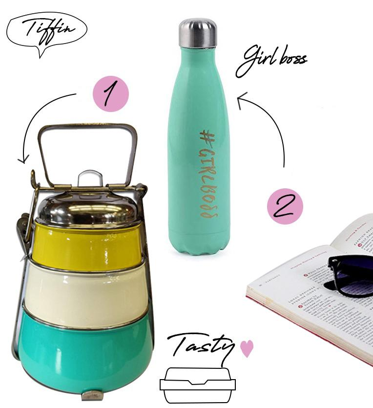Elan Insulated Water Bottle and Lunch Box, Set of 2, Stainless Steel (Multi)