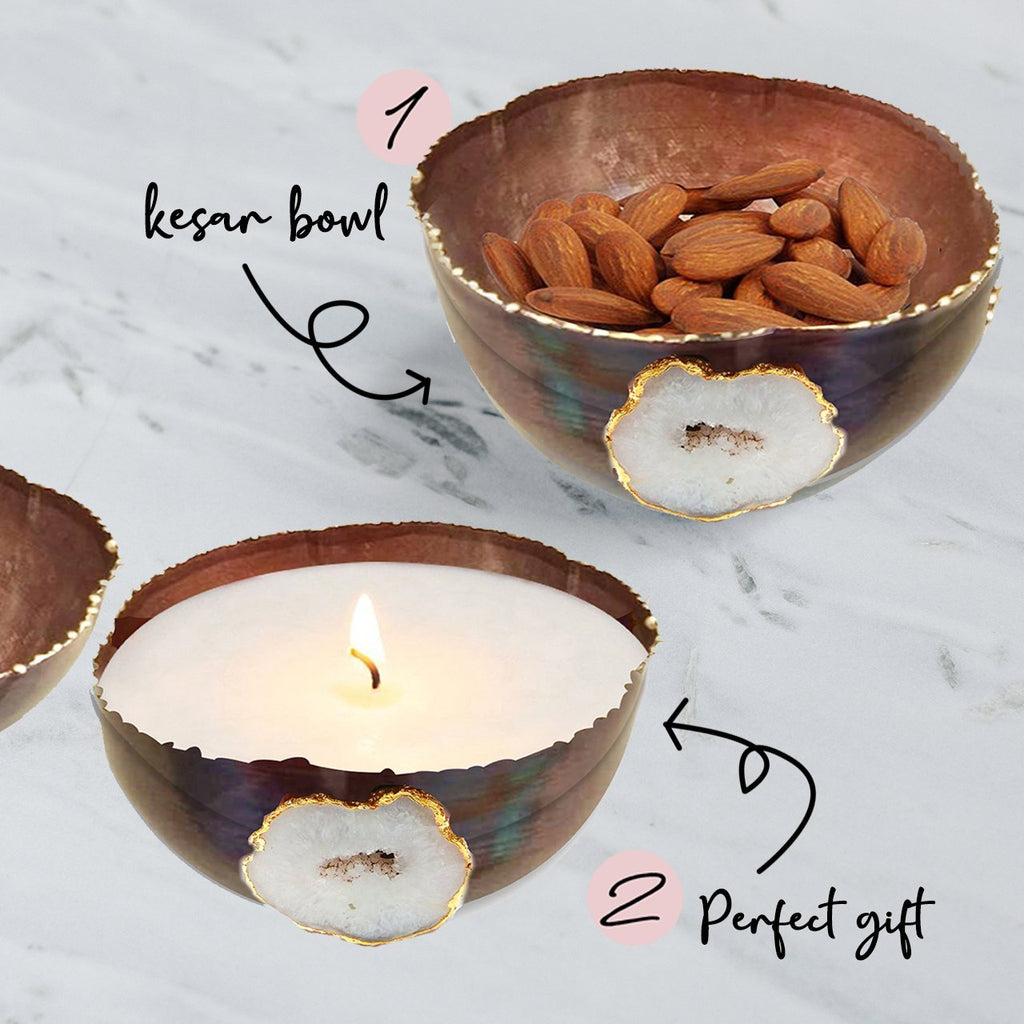 Elan Oslo Kesar Bowl and Candle Set (Medium, Copper Finish)