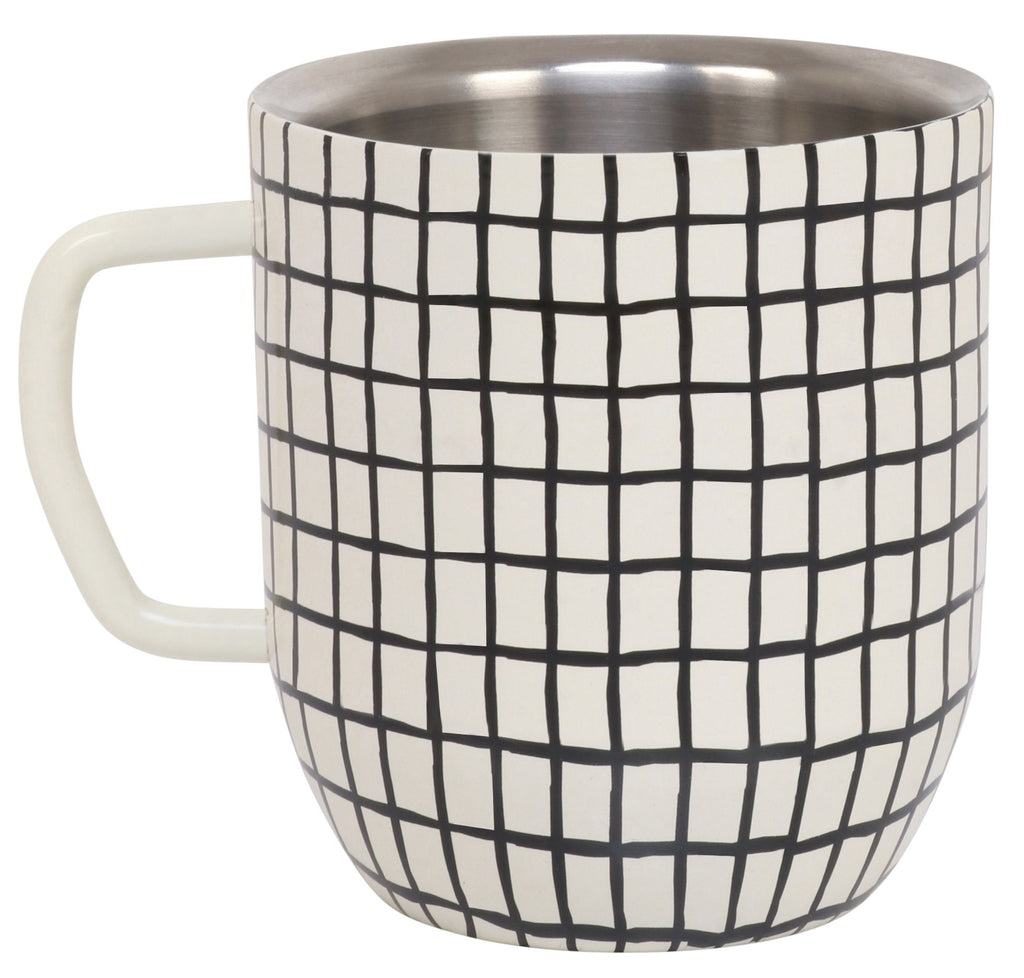 Elan Double Walled Stainless Steel Cup (Grid Print, 300 ml)
