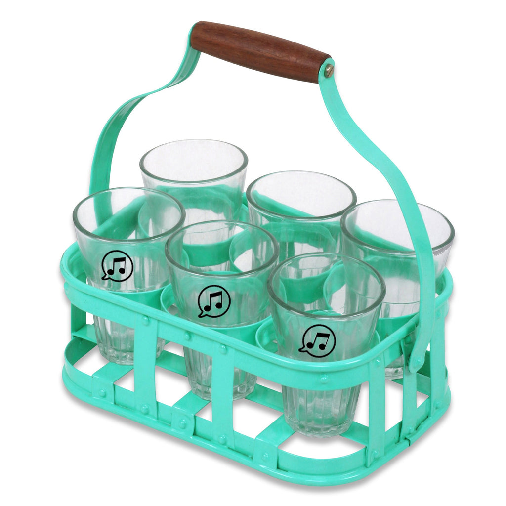 Elan Chai Tea Stand with 6 Glasses (Aqua)
