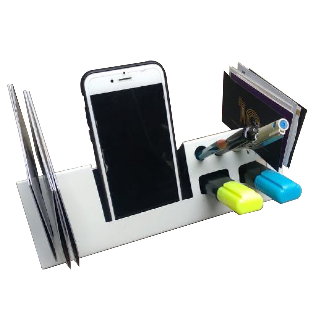Elan Compacto Desk Organiser  with Phone holder(Metal, Off White)