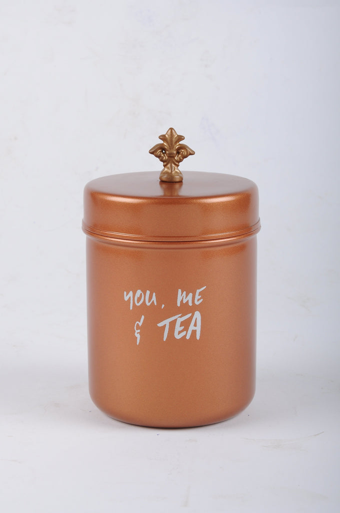 Elan You Me & Tea Canister, Stainless Steel (500ml, Copper Finish)