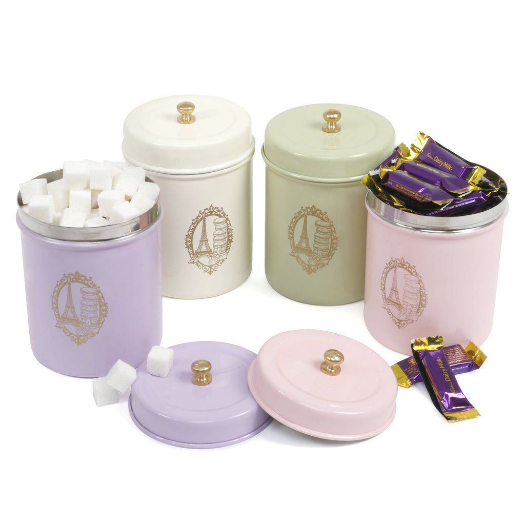 Elan Paris Canisters, Set of 4 (Stainless Steel, 0.5Litre)
