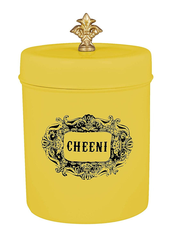 Elan Cheeni Sugar Canister, Stainless Steel (500ml, Yellow)