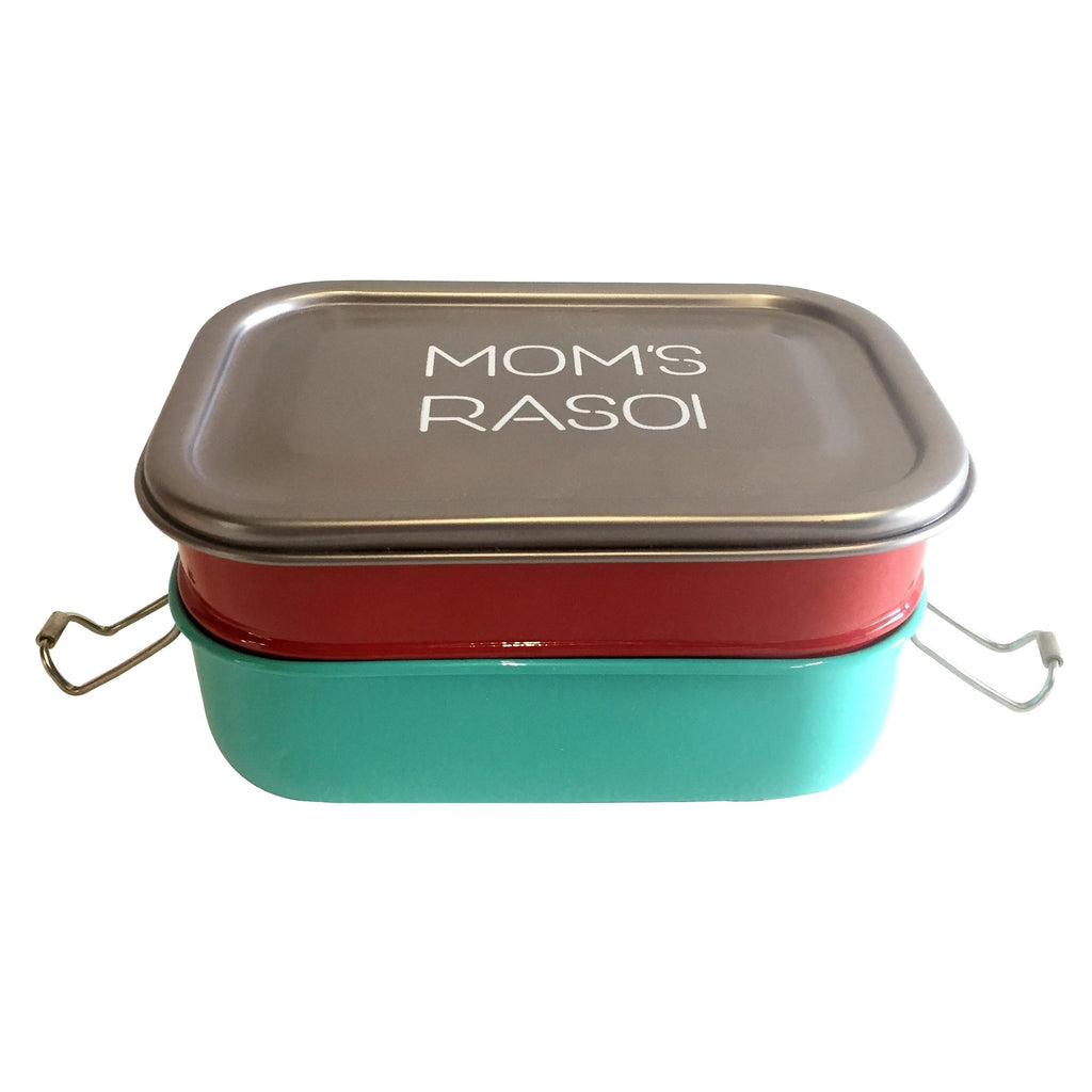Elan Mom's Rasoi Stainless Steel Lunch Box, 2 Compartments Tiffin Box (Red, Aqua)
