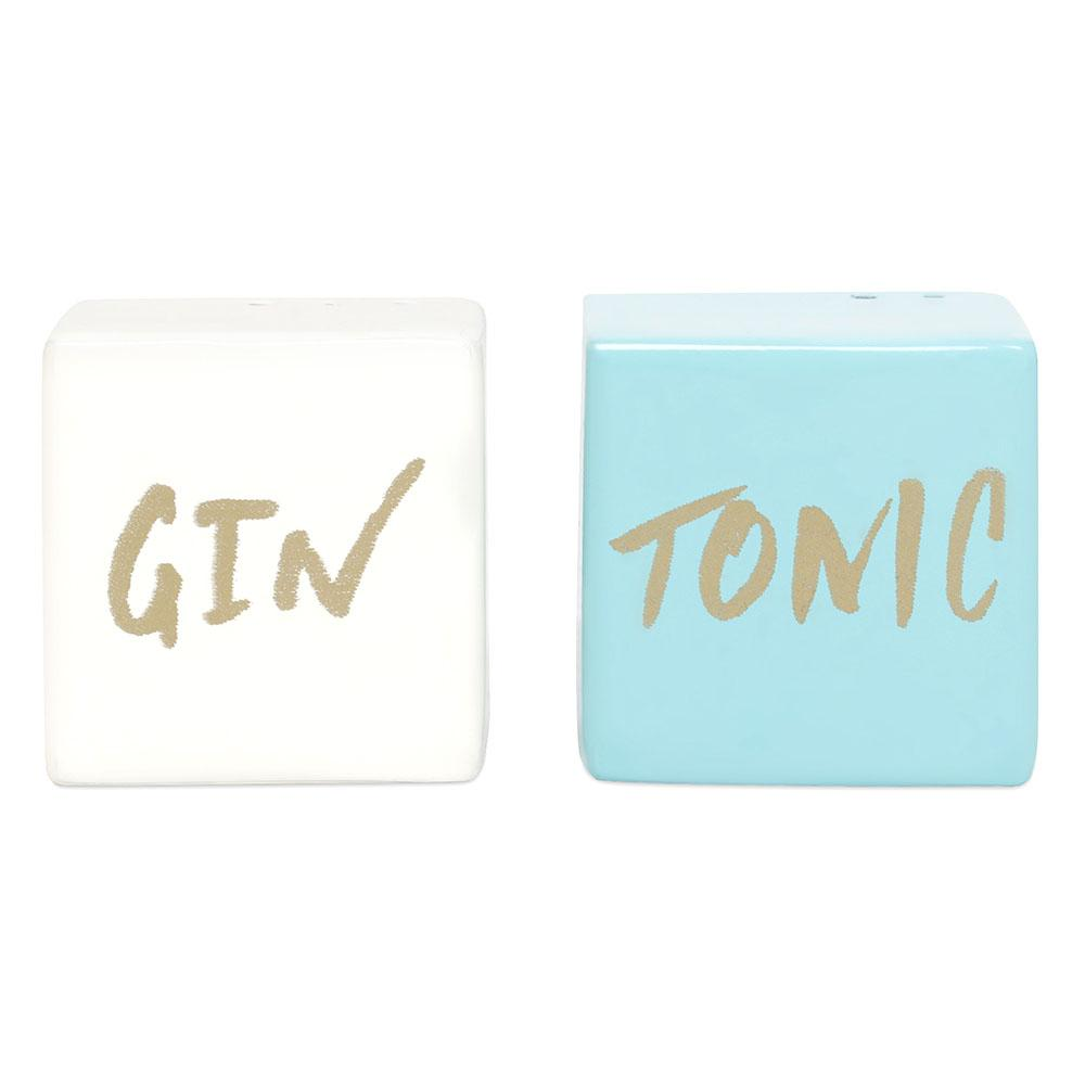 Elan Gin and Tonic Salt and Pepper Shaker Set, Stainless Steel