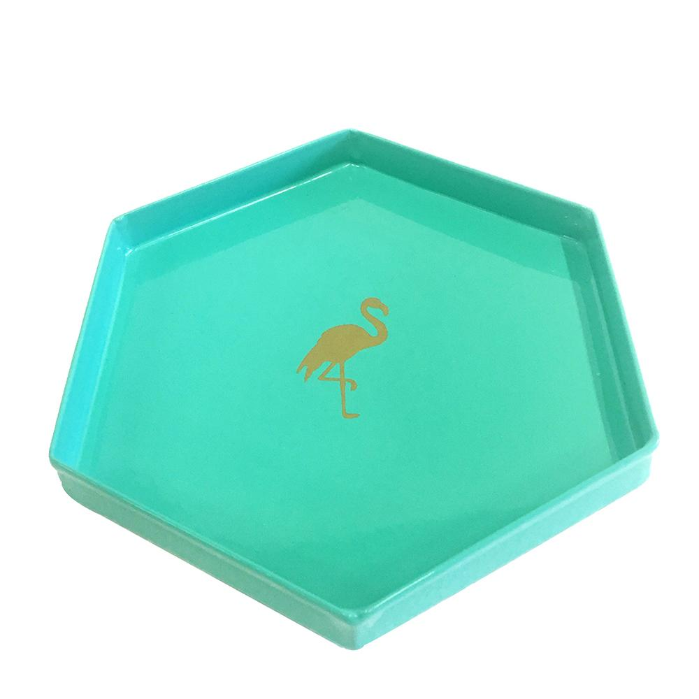 Elan Flamingo Trinket Tray, Mini, Metal (Hex, Aqua)