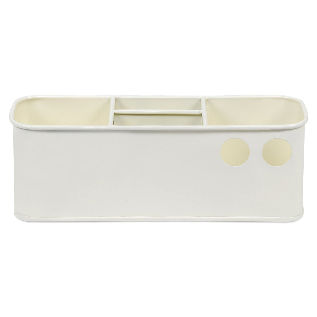 Elan Suave Desk Organizer, Cosmetic Organizer, Gadget Organiser (4 Compartment, Off White)