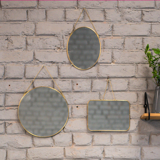 Elan Samantha Mirrors - Set of 3 (Assorted shapes,Brass)
