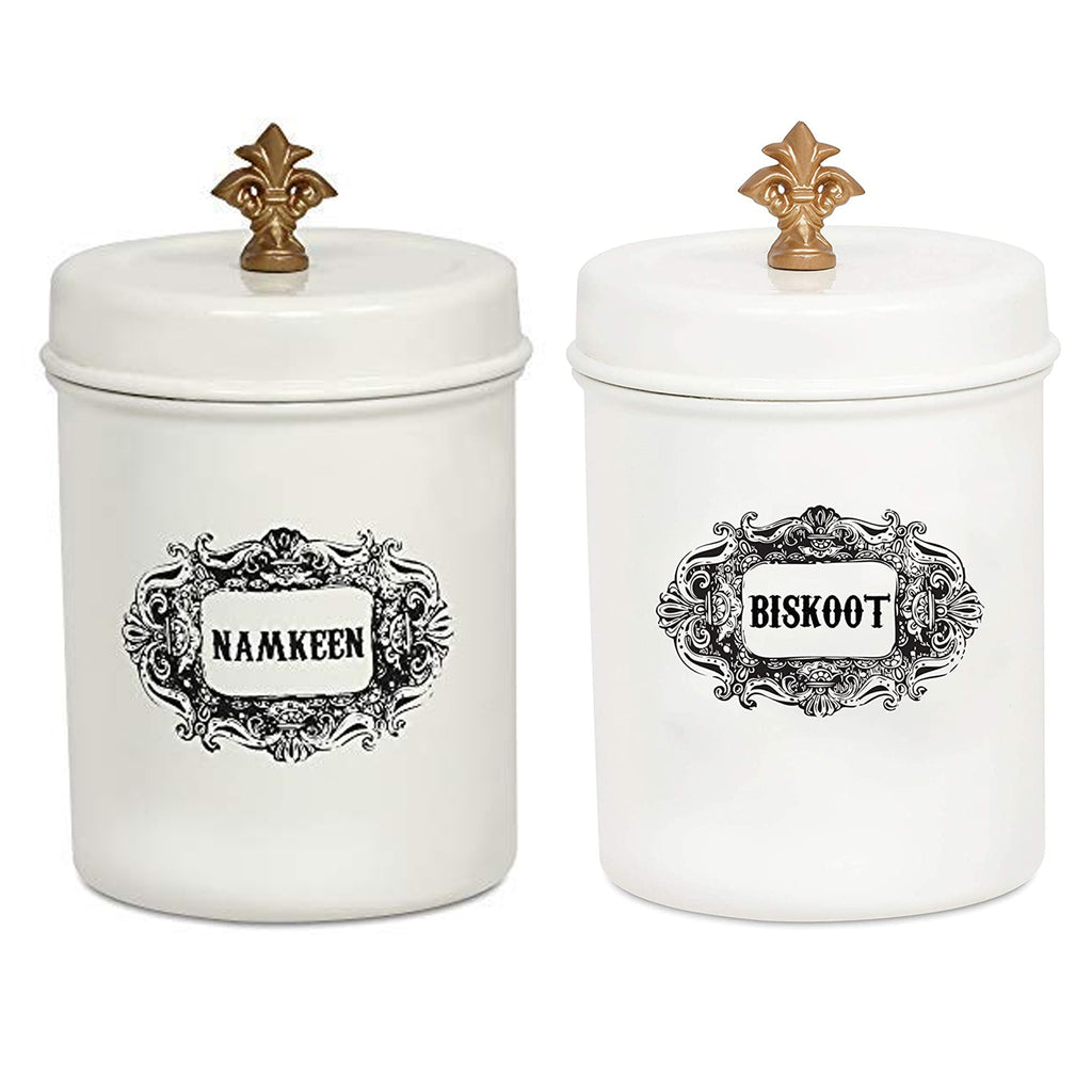 ELAN Namkeen and Biskoot Canisters for Kitchen, Storage Jar, Stainless Steel (Set of 2, Off White)