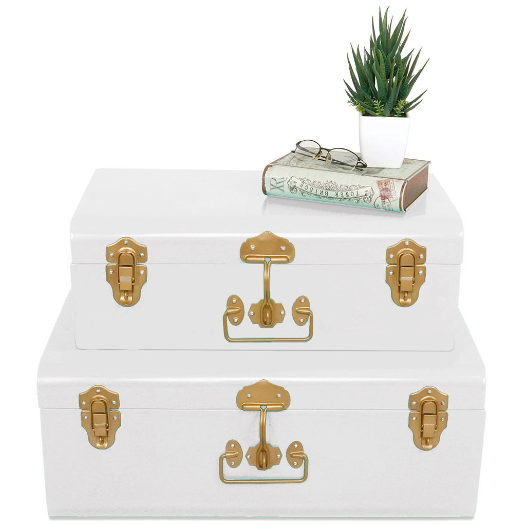 ELAN VINTAGE METAL BUXA TRUNK, SET OF 2 (OFF WHITE WITH GOLD ACCESSORIES)