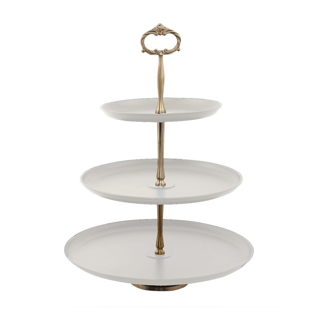 Elan Three Tier Cake Stand (Brass Accesories, Off White)