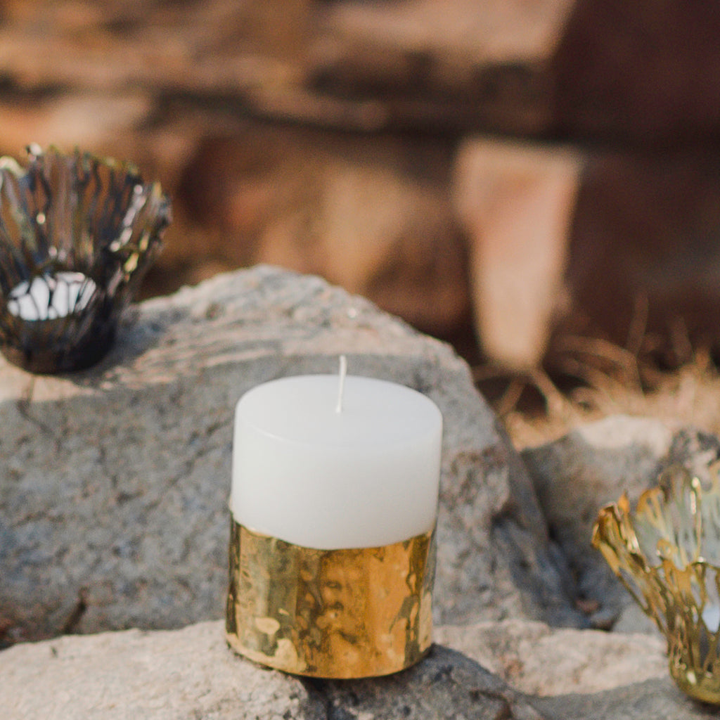 Elan Jwalaa Candle Holder Small (Brass, Wax Candle)