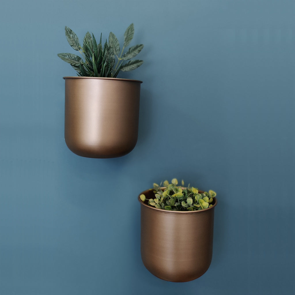 ELAN U Shaped Hanging Planters, Pots for Balcony (Gold Finish, Set of 2)
