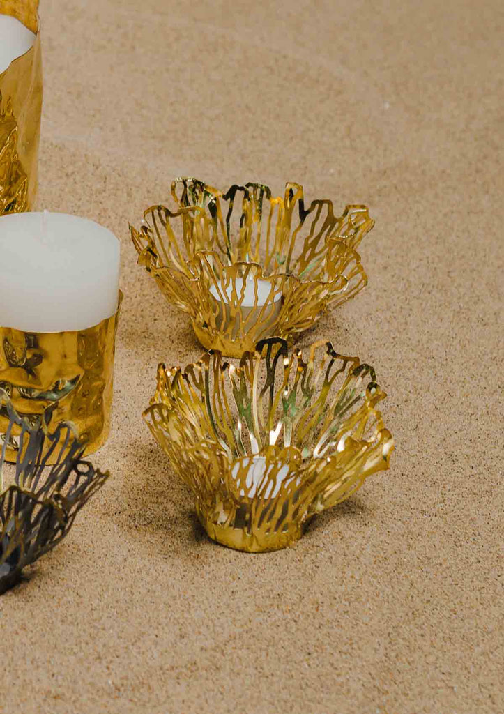 The Dhoora Tealight Candle Holder, Votive (Golden)
