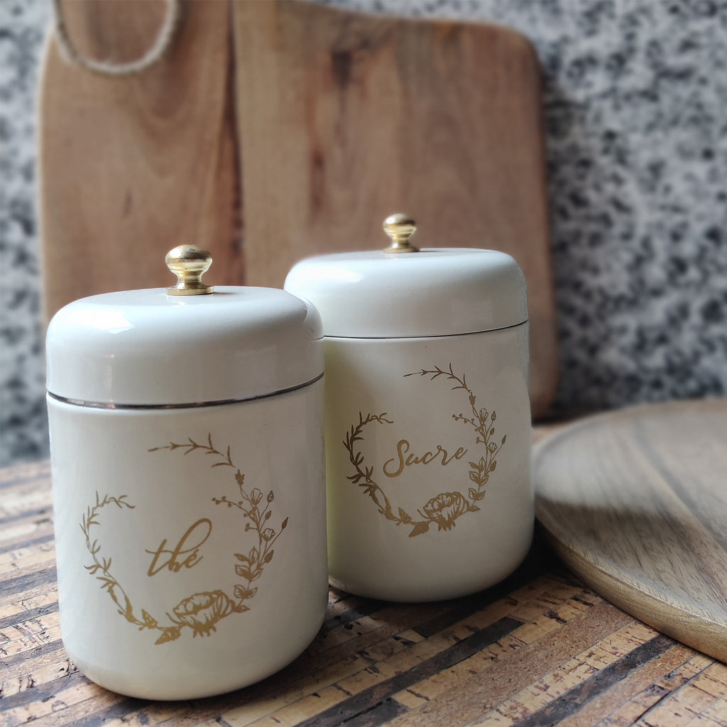 ELAN Tea and Sugar Canisters for Kitchen, Storage Jar, Stainless Steel, (Set of 2, Off White)