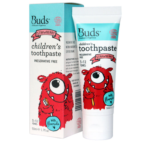 Buds Oralcare Organics - Strawberry Toothpaste with Fluoride 50ml