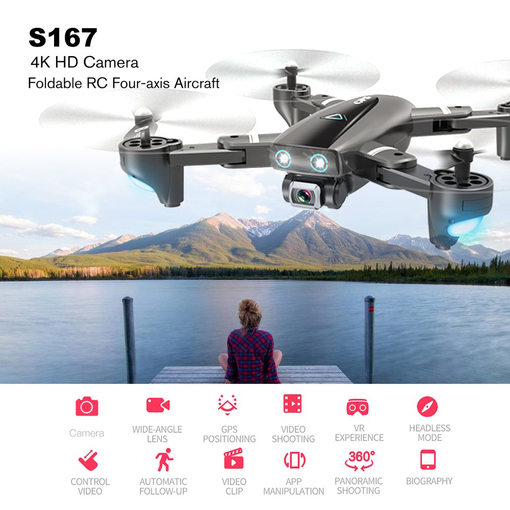 S167 GPS Drone With Camera FPV Foldable Off-Point Flying Photos Video Drone Helicopter