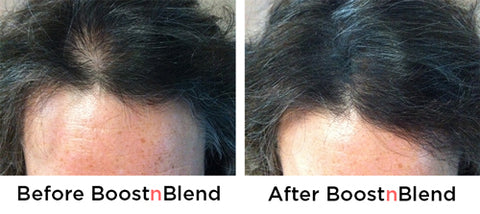 Boost n Blend volumising microfibres hair thickening for women Carolyn before and after