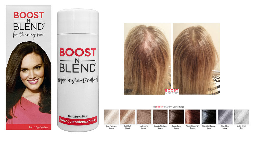 Boost N Blend pack shot with before and after image