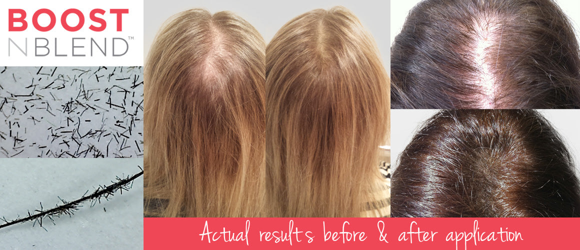 BOOSTNBLEND volumising hair fibres postpartum hairloss