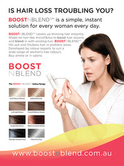 Boost n Blend hair thickening fibres for women in prevention magazine