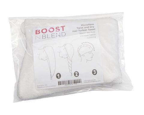 BOOSTnBLEND Microfibre Twist and Dry Hair Towel Reduces Damage to Thinning Hair