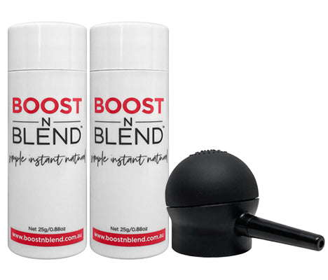 Boost N Blend™ 25g Female Hair Fibre Two Pack with NEW Applicator Bundle