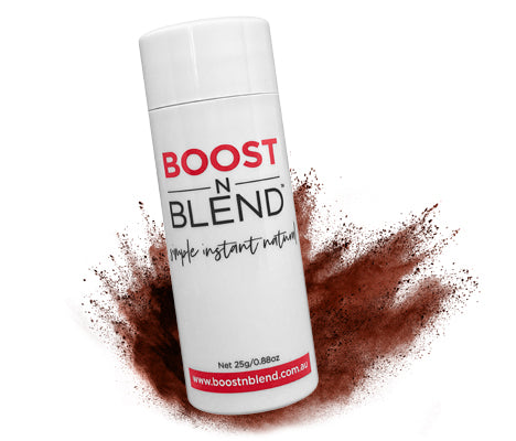 Boost N Blend™ Warm Cinnamon Brown Shake in Hair Loss Concealer Powder. BOOST Hair Instantly
