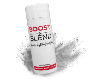 Boost N Blend™ Silky Silver Grey Shake In Hair Loss Concealer. BOOST Hair Instantly