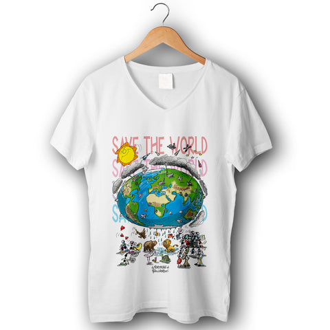 "T-shirt donna elasticizzata ""Save the world"""