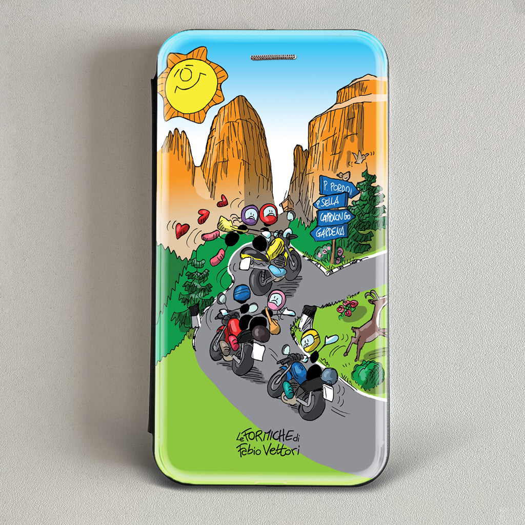 "Cover artistica per Smartphone soggetto ""Only for bikers"" modello con apertura ""a Libro"""
